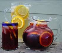 Sangria.  I always add champagne and peach brandy or any other flavor fruit schnapps or brandy.