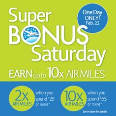 Super Bonus Saturday!  Get 10x AIR MILES reward miles! #LawtonsDrugs #Lawtons #AIRMILES