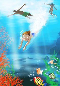 #sea #child #fishandcoral #blue