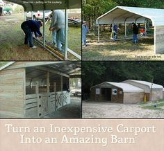 Turn an Inexpensive Carport Into an Amazing Barn Turn an Inexpensive Carport Into an Amazing Barn What do you do if you need lots of space and don't have a a lot of cash? well a good way is to re-purpose Horse Shed, Horse Barns, Horse Shelter, Goat Barn, Future Farms, Barns Sheds, Mini Farm, Farms Living, Barn Plans