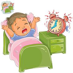 Vector Illustration Of A Little Child Woke Up In The Morning From Ringing The Alarm Clock And Stretches In Bed Print Template Design Element Vector and PNG Student Clipart, Student Cartoon, People Illustration, Character Illustration, Book Illustration, Elephant Background, Learning English For Kids, Image Hd, Little Children