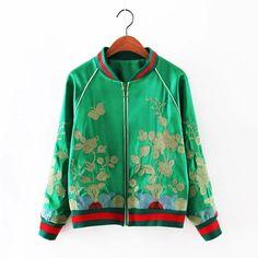a267222c7f0 Wholesale Cheap 2016 Spring Embroidered Floral Satin Bomber Jacket Green Baseball  Plus Size XXL XXXL 4XL
