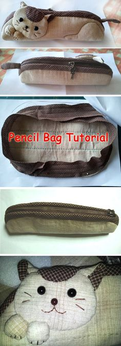 How to make kitten pencil bag step by step DIY tutorial instructions with pattern. Как сделать сумочку-котенка (пенал), инструкции, DIY учебник.  http://www.handmadiya.com/2015/08/cat-pencil-case.html