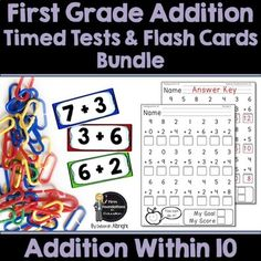 First Grade Addition Flash Cards & Timed Tests Bundle- Addition Within Includes Student and Teacher Record Charts- Math Speed Drills First Grade Addition, Addition Flashcards, Subtraction Kindergarten, Math Fact Fluency, Addition Facts, 1st Grade Math, School Subjects, Math Facts, Small Groups