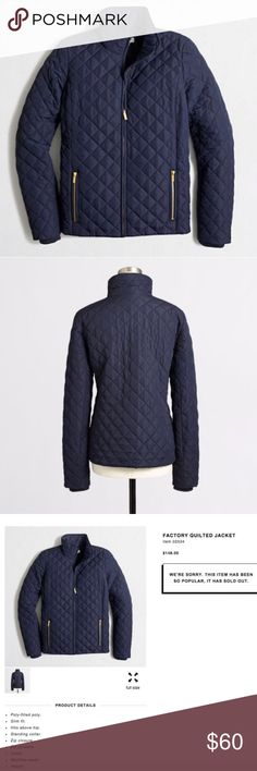 Jcrew quilted navy jackets Great jacket for pre fall to fall season. The jacket is in very good condition. J. Crew Jackets & Coats