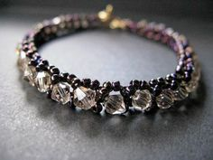 Tennis Bracelet Deep Purple with Golden Shadow by BeadedTail, $24.00