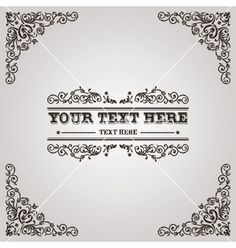 Vintage calligraphic frame vector  - by Mictoon on VectorStock®