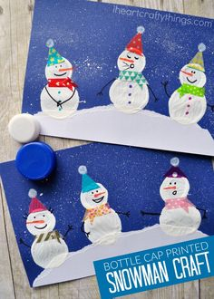 Stamp different sized bottle caps together to make this adorable Bottle Cap Printed Snowman Craft. It makes a perfect winter kids craft and children will love personalizing their cute snowman craft with washi tape and markers.