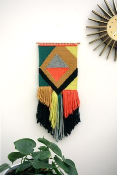 """Woven wall hangings / hand woven tapestry / weaving """"Diwali Night"""" / wall art / boho home / textile hanging / mid-century decor by Lepetitmoose on Etsy"""