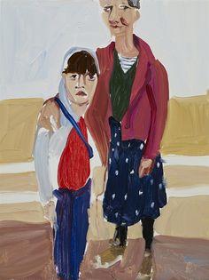 Chantal Joffe, Self Portrait with Esme on the Promenade, Oil on board, 40 x 30 x 1 cm. Courtesy the artist and Victoria Miro Gallery, ©Chantal Joffe Artist Paint, Beach Drawing, Art Pass, Figure Poses, British Art, International Art, Art, Famous Art, Chantal Joffe