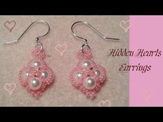 Hidden Hearts Earrings Beading Tutorial by HoneyBeads1 (Valentine's or prom earrings with pearls) - YouTube