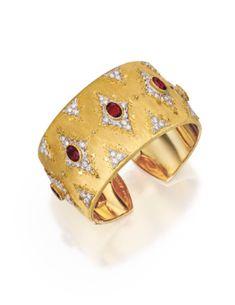 18 Karat Two-Color Gold, Ruby and Diamond Cuff Bracelet, Buccellati