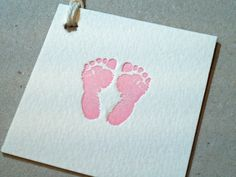 Baby Feet Tags Letterpress Printed on Cotton Squares - boy or girl 4 pack