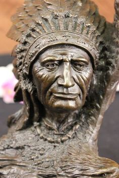 Bronze Marble Statue Indian Native Chief
