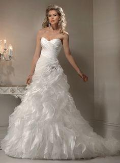 Ball Gown Sleeveless Organza Floor-length bridal gown