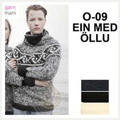 O-09 EIN MED ÖLLU - Garnmani.no - Spesialist på islandsk garn Iceland, Turtle Neck, Knitting, Sweaters, Black, Fashion, Style Men, Tricot, Threading
