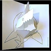 """Summer is here and """"Jaws"""" is playing on the reruns. Make your own shark pop up for summer fun. Wouldn't this be cool to replicate in a large size? Arte Pop Up, Pop Up Art, Projects For Kids, Crafts For Kids, Summer Crafts, Summer Fun, Pop Up Card Templates, Origami Templates, Pop Out Cards"""