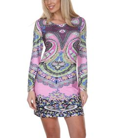 Purple & Pink Abstract Paisley Scoop Neck Dress - Women by White Mark #zulily #zulilyfinds