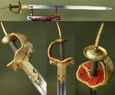 Indian double bladed  firangi sword, derived from the Arabic term (al- faranji) for a Western European  which used blades manufactured in Western Europe and imported by the Portuguese, or made locally in imitation of European blades,  extensive gold kofthari on the khanda type basket hilt.
