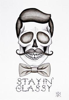 Statin Classy Skull Tattoo Design