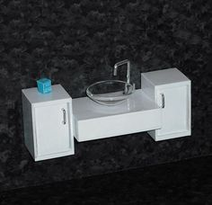 1/12th scale Vanity unit in white by ELF Mins, via Flickr - now, how to recreate this in 1/6 scale....