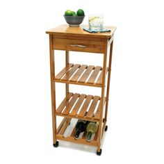 Bamboo Kitchen Cart with Shelving in Kitchen Carts and Islands $88.99