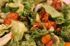Salad with kale pesto and tandoori masala chicken, quick and healthy recipe perfect for summer. You can add any in season veggies you have on hand. Gluten free, low carbs  high protein meal perfect for macro counters.