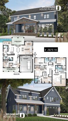 Arnaud 2 from the Drummond House Plans house collection. Comfortable 5 beds, baths Modern Farm House style house plan with home office, garage, open floor. Open Floor House Plans, Sims House Plans, Porch House Plans, Cottage Style House Plans, Modern Floor Plans, Farmhouse Floor Plans, 4 Bedroom House Plans, Craftsman Style House Plans, Dream House Plans