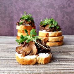 Tomatoes not in season? Make wild mushroom bruschetta instead! Serve with whipped goat cheese on a crostini.