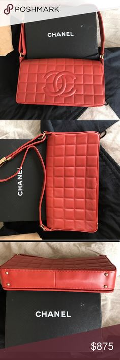 Authentic CHANEL choco bar flap bag This CHANEL bag is in excellent condition. No marks or wear marks. Inside CLEAN! Please see addition listings with pics. Request additional pictures and information only if seriously interested. Original box & bag. Thank you CHANEL Bags