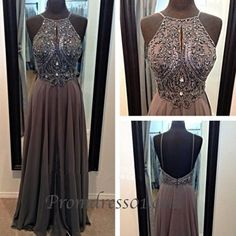 Vintage halter prom dress, backless junior prom dress