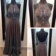 Vintage halter prom dress, backless junior prom dress
