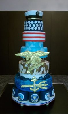 Navy Seals Cake - This was a cake I made for the Navy Seals Ball which was in honor of TEAM 6.