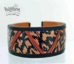 Ikat pattern cuff bracelet by Gretchen Amberg  #Polymer #Clay #Tutorials