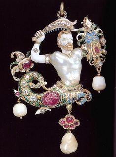 """Manifattura fiamminga-""""Bijou Canning """"-Oro, pietre preziose,perla  scaramazza -XVI secolo-Victoria and Albert Museum-Londra-"""