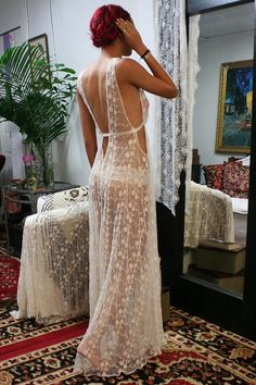Heirloom Collection Embroidered Ivory Mesh Lace Nightgown by Sarafina Dreams