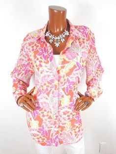 CHAPS Womens Top 1X Sheer Spring Button Down Blouse Casual Shirt Coral Pink  #Chaps #Blouse #Casual