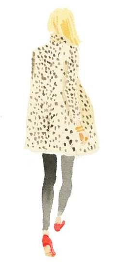 Fashion Drawing Leopard Coat by Caitlin McGauley / Tiger Flower Studio - Fashion News, Fashion Art, Autumn Fashion, Fashion Trends, Trendy Fashion, Fashion Models, Style Fashion, Art And Illustration, Watercolor Illustration