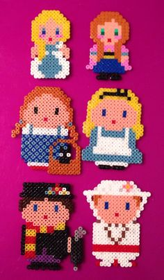 Hama beads Perler Disney :Mary Poppins, Dorothy wizard of Oz, Alice in Wonderland, Anna and Elsa Frozen by Tam Artesania