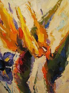 """Purple Iris & Birds of Paradise,"" Acrylic on Canvas, 72 x 60 in."