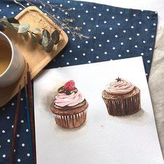 這週台中課程我們來畫杯子蛋糕喔☺️ #watercolor#winsorandnewton#illustration#illustrator#paint#panting#draw#drawing#dessert#taiwan#teatime#art#artwork#article#workshop#水彩#插畫#雪莉畫日誌#甜點#delicious#cupcake#chocolate