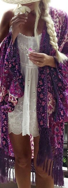 fringed purple print kimono. boho style. white anglaise embroidery dress.                                                                                                                                                     More