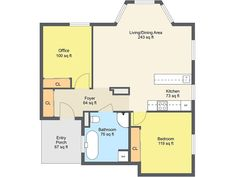 Brilliant 1 Bedroom Floor Plan Room Sketcher Granny Flat Layout For Apartment With Dimension Picture Measurement Philippine Loft Floor Plans Online, Free Floor Plans, Simple Floor Plans, Studio Apartment Plan, Apartment Plans, Dream House Plans, House Floor Plans, Dream House Drawing, Home Design 2017