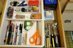 Organized Drawers..I NEED my junk drawer..although I have to organize it every month.