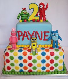 Yo Gabba Gabba Cake - like the multi color polka dots