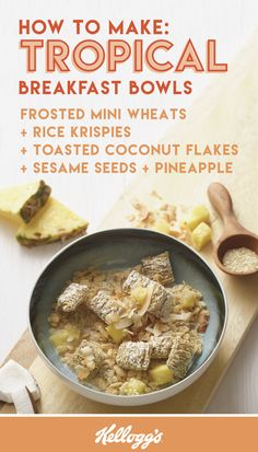 This combination of Kellogg's® Frosted Mini-Wheats®, Rice Krispies®, skim milk, toasted coconut flakes, sesame seeds, and fresh pineapple slices is like summer in a bowl. Try out this recipe with your family for a fun and fruity breakfast idea!