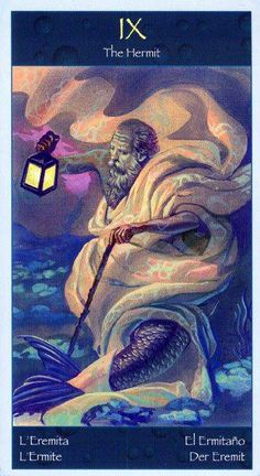 The Hermit - Tarot of Mermaids Mermaid Tarot, The Hermit Tarot, The Magician Tarot, Tarot Astrology, Palmistry, Major Arcana, Merfolk, Card Reading, Tarot Decks