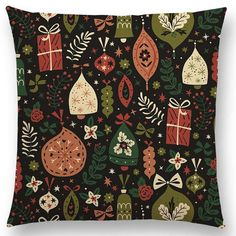 Holiday Ornaments fabric by annadeegan on Spoonflower - custom fabric Sofa Throw Pillows, Throw Pillow Cases, Holiday Ornaments, Holiday Decor, Joy Holiday, Fabric Board, Spoonflower Fabric, Christmas Art, Pillows