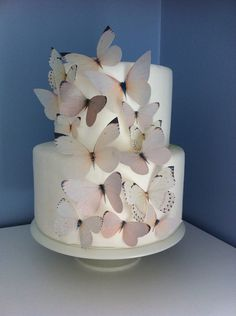 Wedding CAKE TOPPER -  Edible Butterflies in Ivory, Off White, Beige - Butterfly Cake, Cake Decorations - Natural, Nature Wedding
