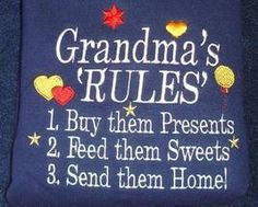 It's pretty much me, pardon my pun, here...to a ''T''!   I am going to get one that says .... AUNT'S RULES .... same rules!